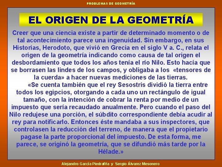 PROBLEMAS DE GEOMETRA EL ORIGEN DE LA GEOMETRA