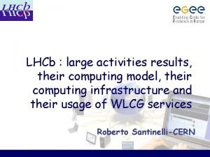 LHCb large activities results their computing model their