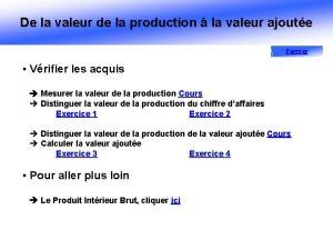 De la valeur de la production la valeur