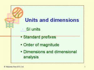 Units and dimensions SI units Standard prefixes Order