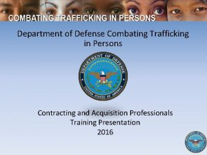 Department of Defense Combating Trafficking in Persons Contracting