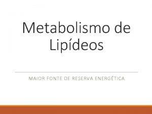 Metabolismo de Lipdeos MAIOR FONTE DE RESERVA ENERGTICA