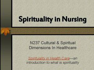Spirituality in Nursing N 237 Cultural Spiritual Dimensions