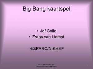 Big Bang kaartspel Jef Colle Frans van Liempt