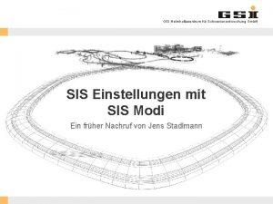 GSI Helmholtzzentrum fr Schwerionenforschung Gmb H SIS Einstellungen