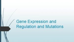 Gene Expression and Regulation and Mutations Gene Expression