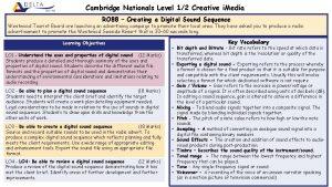 Cambridge Nationals Level 12 Creative i Media RO