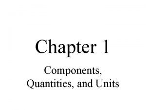 Chapter 1 Components Quantities and Units Objectives Recognize