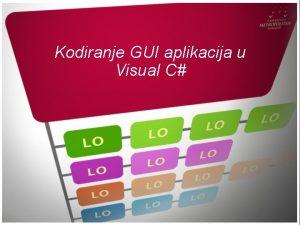 Kodiranje GUI aplikacija u Visual C UVOD Uvod