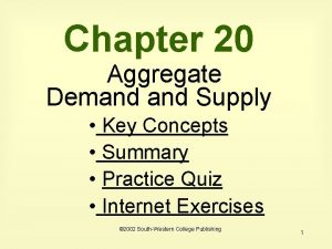 Chapter 20 Aggregate Demand Supply Key Concepts Summary