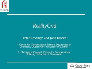 Reality Grid Peter Coveney 1 and John Brooke