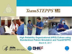 High Reliability Organizational HRO Culture using Standardized Patient