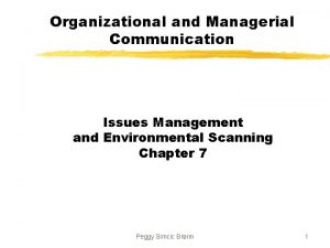 Organizational and Managerial Communication Issues Management and Environmental
