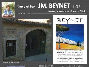 Newsletter JM BEYNET N 37 octobre novembre et