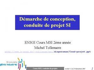 Dmarche de conception conduite de projet SI ENSGI