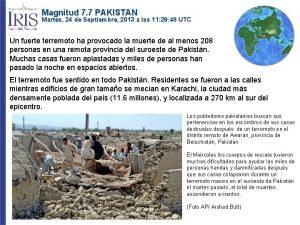 Magnitud 7 7 PAKISTAN Martes 24 de Septiembre