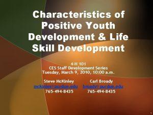 Characteristics of Positive Youth Development Life Skill Development