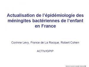 Actualisation de lpidmiologie des mningites bactriennes de lenfant