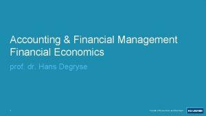 Accounting Financial Management Financial Economics prof dr Hans