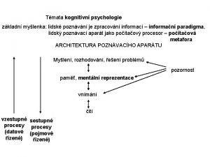 Tmata kognitivn psychologie zkladn mylenka lidsk poznvn je