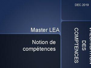 DEC 2019 Notion de comptences VALORISATION DES COMPTENCES