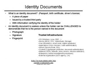 Identity Documents What is an identity document Passport
