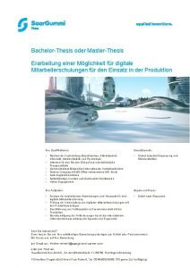 BachelorThesis oder MasterThesis Erarbeitung einer Mglichkeit fr digitale