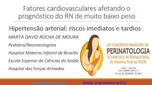 Fatores cardiovasculares afetando o prognstico do RN de