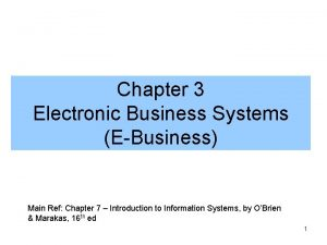 Chapter 3 Electronic Business Systems EBusiness Main Ref
