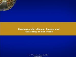 Cardiovascular disease burden and remaining unmet needs Date