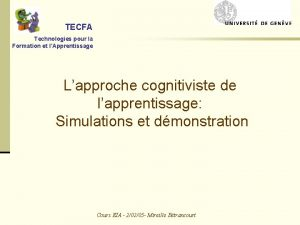 TECFA Technologies pour la Formation et lApprentissage Lapproche