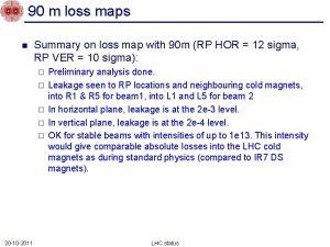 90 m loss maps n Summary on loss