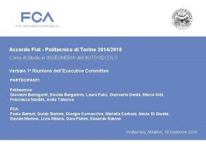 Accordo Fiat Politecnico di Torino 20142018 Corso di
