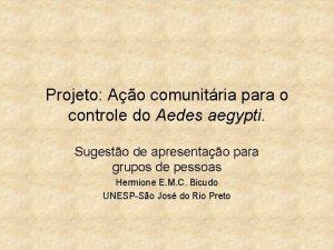 Projeto Ao comunitria para o controle do Aedes