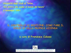 Universit degli studi di Torino Dal diritto allo