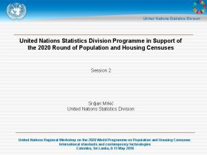 United Nations Statistics Division Programme in Support of