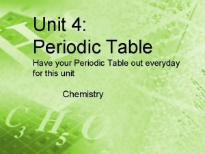 Unit 4 Periodic Table Have your Periodic Table