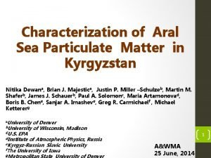 Characterization of Aral Sea Particulate Matter in Kyrgyzstan