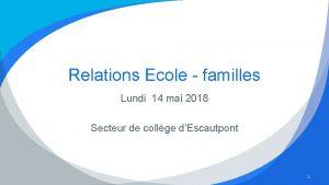 Relations Ecole familles Lundi 14 mai 2018 Secteur