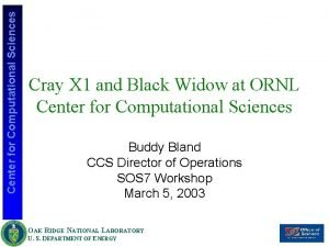Center for Computational Sciences Cray X 1 and