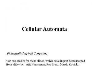 Cellular Automata Biologically Inspired Computing Various credits for