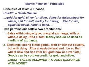 Islamic Finance Principles of Islamic Finance Hhadith Sahih