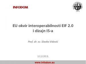 EU okvir interoperabilnosti EIF 2 0 i dizajn