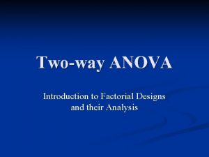 Twoway ANOVA Introduction to Factorial Designs and their