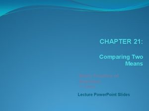CHAPTER 21 Comparing Two Means Basic Practice of