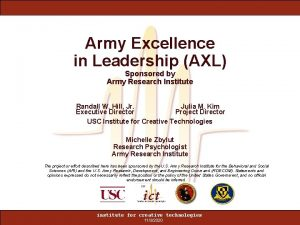 Army Excellence in Leadership AXL Sponsored by Army
