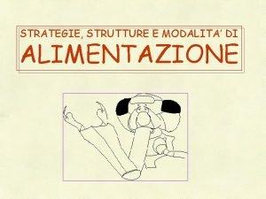 STRATEGIE STRUTTURE E MODALITA DI ALIMENTAZIONE SOMMARIO DEGLI