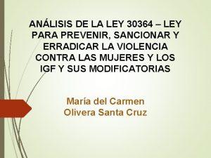 ANLISIS DE LA LEY 30364 LEY PARA PREVENIR