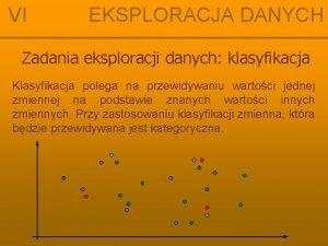VI EKSPLORACJA DANYCH Zadania eksploracji danych klasyfikacja Klasyfikacja