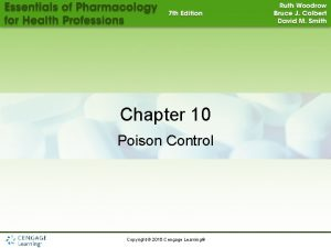 Chapter 10 Poison Control Copyright 2015 Cengage Learning